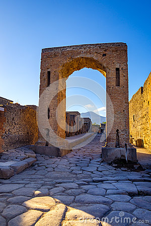 Scenic view of ruins at city of Pompeii with Vesuvio background