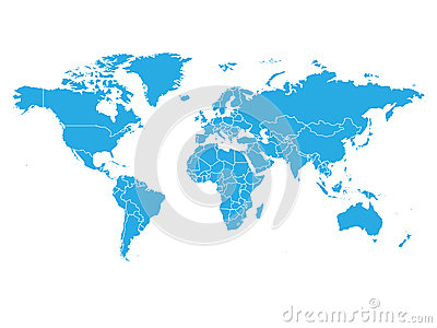 World map in blue color on white background. High detail blank political map. Vector illustration with labeled compound