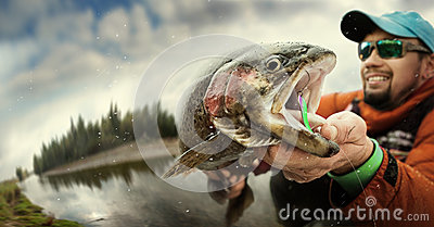 Fishing. Fisherman and trout.