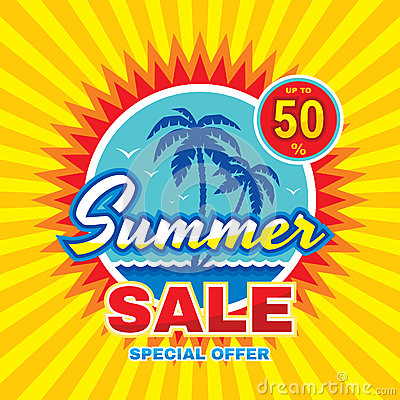 Summer sale - vector concept banner illustration in flat style. Special offer creative badge layout with palms, sea wave, sun.