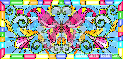 Stained glass illustration with bright butterfly and floral ornament on a blue background in a frame