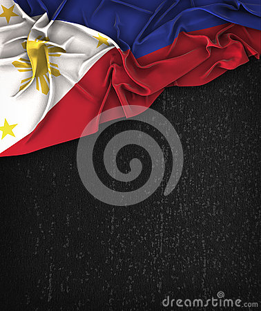 Philippines Flag Vintage on a Grunge Black Chalkboard