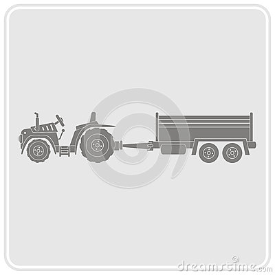 Icon with farm tractor and trailer