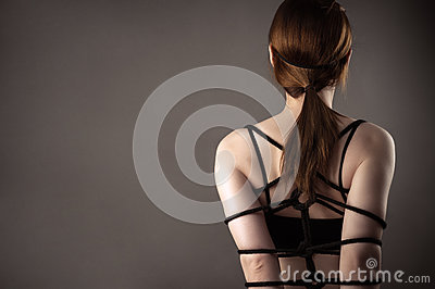 Tied with rope woman, bondage
