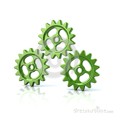 Three green gear wheels