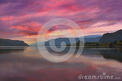 Colorful Sunrise at Columbia River Gorge in Portland Oregon