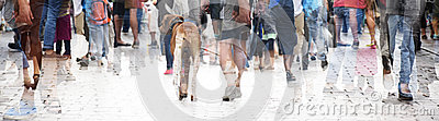 City walk, double exposure of a large crowd of people and a dog, abstract panorama bannerfor website header