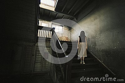 Ghost in Haunted House, Mysterious Woman, Horror scene of scary.