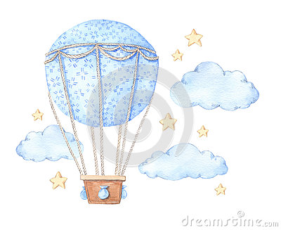 Hand drawn watercolor illustration - hot air balloon in the sky.