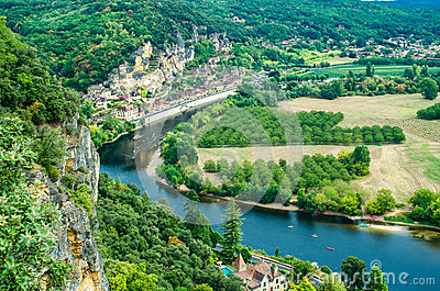 Panorama of la Roque Gageac in Dordogne, France