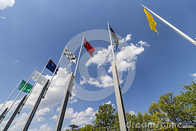 Indianapolis - Circa May 2017: The seven racing flags at Indianapolis Motor Speedway. IMS Prepares for the Indy 500 V