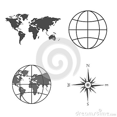 Vector illustration of world map, globe, wind rose, compass.