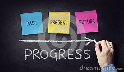 Past present and future time progress concept on blackboard or c