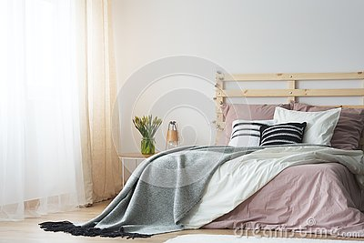 Pink and white bedding
