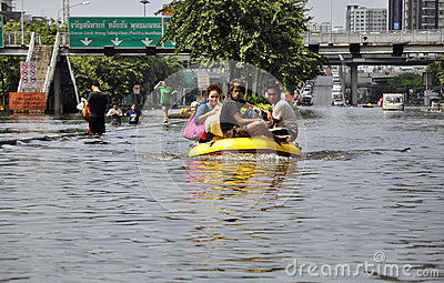 Local residents use inflatable boat