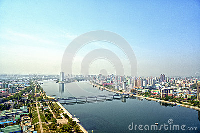 Panoramic view of Pyongyang in the morning. DPRK - North Korea.