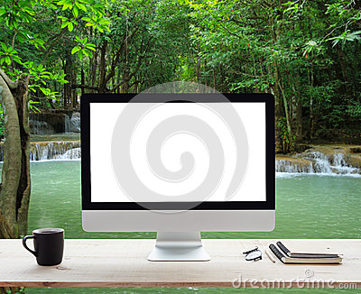 Desktop white frame on work table and waterfall nature