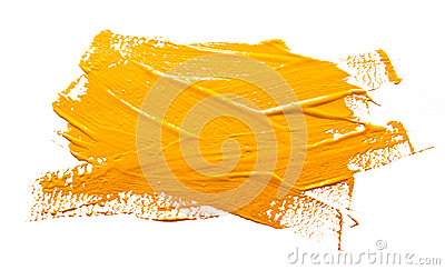 Yellow ochre strokes of the paint brush isolated
