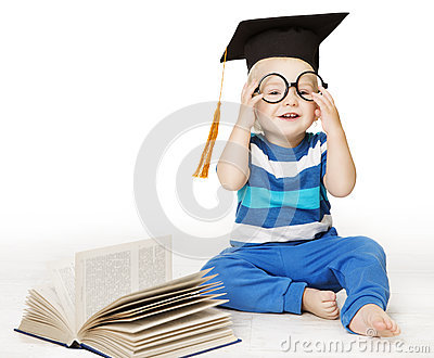 Baby Read Book, Smart Kid Boy in Glasses and Mortarboard Hat