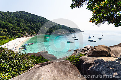 Beautiful tropical beach and blue sky background. Similan Island