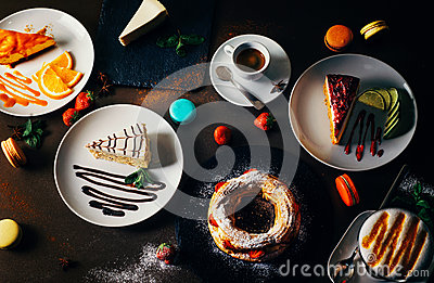 stock image of various desserts