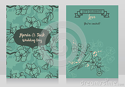 Cards for wedding with blooming tree branches and sitting swallow