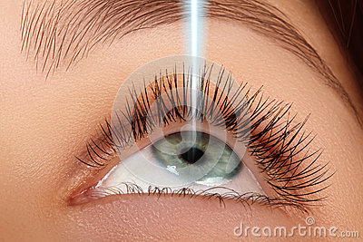 Laser surgery and correction on beauty female eye. Macro of young eyes with laser rays. Healthcare and good vision