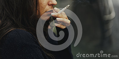 Homeless Adult Woman Smoking Cigarette Addiction