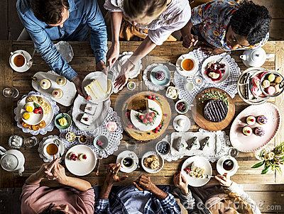 Friends Gathering Together on Tea Party Eating Cakes Enjoyment h