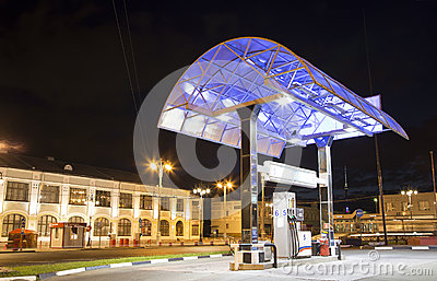 Filling station Gas station at night, Moscow, Russia,