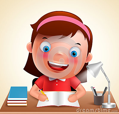 Girl kid vector character happy studying in desk doing school homework