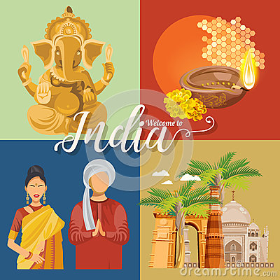 Indian travel colorful template. Indian set. Travel to India. I love India. Vector illustration in vintage style