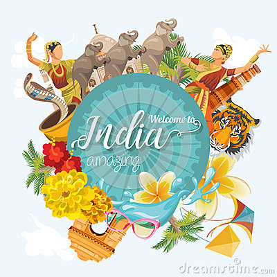 Indian travel colorful template. Indian set. Welcome to amazing India. I love India. Vector illustration in vintage style