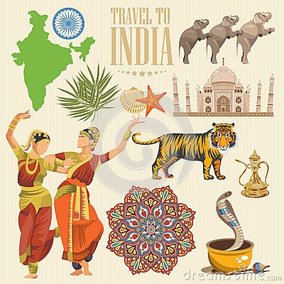 Indian travel colorful template. Indian detailed set. Travel to India. I love India. Vector illustration in vintage style
