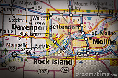 stock image of quad cities on map