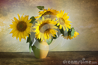 Bouquet of beautiful sunflowers in a vase