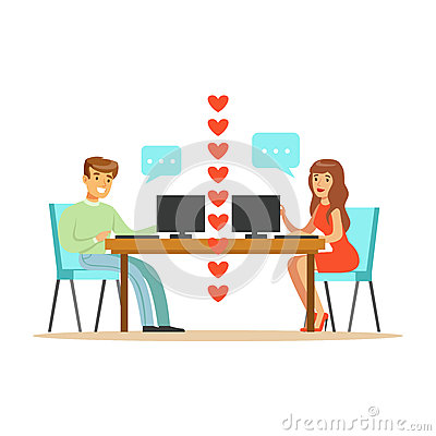 Young man and woman in love chatting sitting in their office colorful character vector Illustration