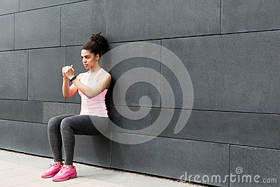 Athlete doing wall squat