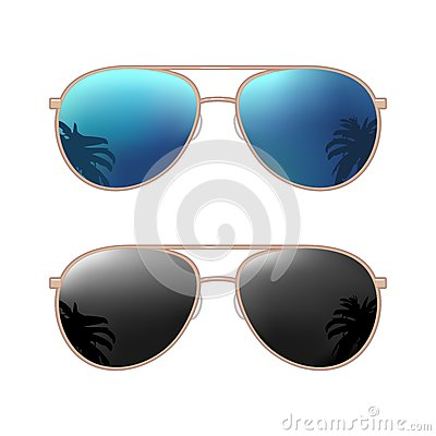 Aviator modern sunglasses with palms reflection. Vector color flat illustration