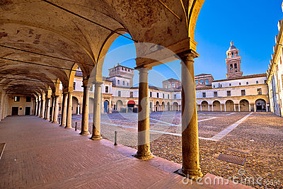 Piazza Castello in Mantova architecture view