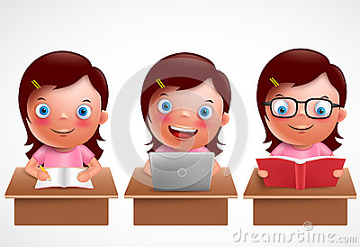 Girl kid vector characters set. Female preschool student studying, reading and browsing