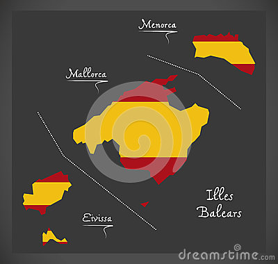 Illes Balears map with Spanish national flag illustration