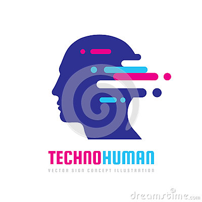 Techno human head vector logo concept illustration. Creative idea sign. Learning icon. People computer chip. Innovation technology