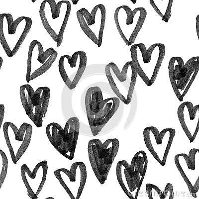 Pattern of hearts hand drawn vector sketch. Seamless heart art background hand drawn by marker or felt-tip pen drawing
