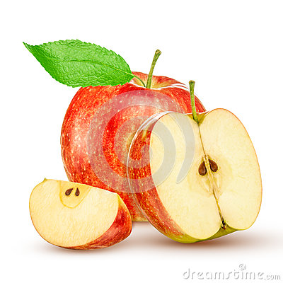 Red yellow apple with green leaf and slice isolated on white background