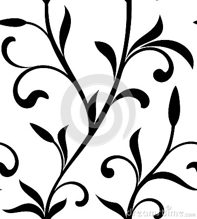 Classic seamless pattern. Tracery of branch with leaves on a white background. Vintage style