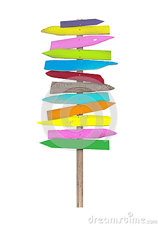Bright colorful blank wooden directional beach signs on pole