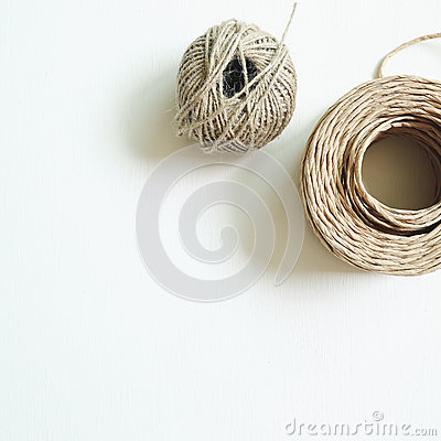 Brown string on white background