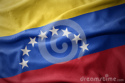 Waving colorful flag of venezuela.