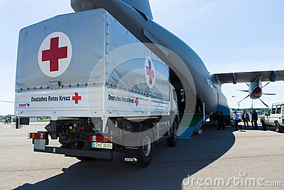 A car with the humanitarian aid of the German Red Cross